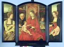 The Holy Family with St. Catherine and St. Barbara von Master of the Holy Blood