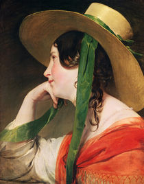 Girl in a Yellow Straw Hat by Friedrich von Amerling