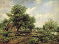 Wooded river landscape with a cottage and a horse drawn cart  by Frederick Waters Watts