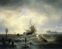 The Entrance to the Harbour at Hellevoetsluys von Andreas Achenbach