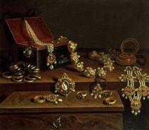 Casket of jewels on a table von Pieter Gerritsz. van Roestraten