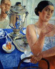 At the Samovar by Kuzma Sergeevich Petrov-Vodkin