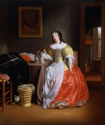Lady in a yellow and red dress  von Samuel van Hoogstraten