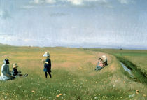 Children and Young Girls picking Flowers in a meadow north of Skagen  von Michael Peter Ancher