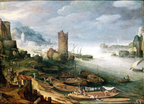 River Scene with a Ruined Tower  von Paul Brill or Bril