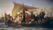 The Crossing of the Bosphorus by Godfrey of Bouillon  by Emile Signol