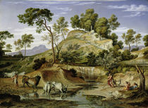 Landscape with Shepherds and Cows and at the Spring von Joseph Anton Koch