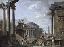 Landscape with Roman Ruins  by Giovanni Paolo Panini