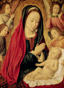 The Virgin and Child Adored by Angels  von Master of Moulins