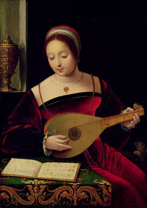 Mary Magdalene Playing the Lute  von Master of the Female Half Lengths
