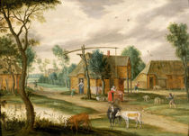 A village landscape with a woman drawing water from a well  by Isaak van Oosten