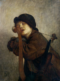 The Little Violinist Sleeping von Antoine Auguste Ernest Herbert or Hebert