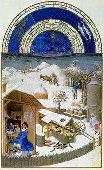 Facsimile of February: farmyard scene with peasants by Limbourg Brothers