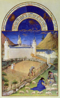 Fascimile of July: Harvesting and Sheep Shearing von Limbourg Brothers