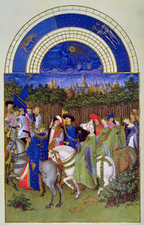 Facsimile of May: Courtly Figures on Horseback by Limbourg Brothers