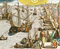 Departure from Lisbon for Brazil von Theodore de Bry