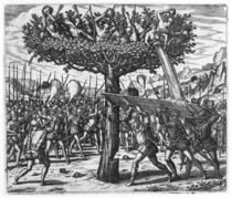 Indians in a Tree Hurling Projectiles at the Spanish  von Theodore de Bry
