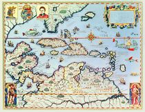 Map of the Caribbean islands and the American state of Florida  von Theodore de Bry