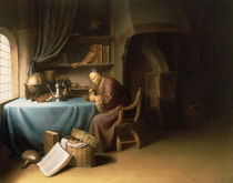 An Old Man Lighting his Pipe in a Study  von Gerrit or Gerard Dou
