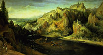 Mountain Landscape with a surprise attack by Lucas van Valckenborch