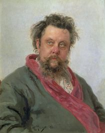 Portrait of Modest Petrovich Moussorgsky  by Ilya Efimovich Repin