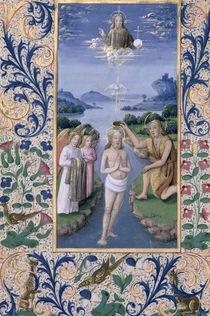 Ms Lat. Q.v.I.126 f.88v Baptism of Christ von Jean Colombe