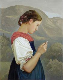 Tyrolean Girl Contemplating a Crucifix von Rudolph Friedrich Wasmann