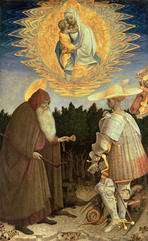 The Virgin and Child with St. George and St. Anthony the Abbot  by Antonio Pisanello