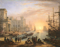 Sea Port at Sunset by Claude Lorrain
