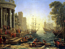 Seaport with the Embarkation of St. Ursula  by Claude Lorrain