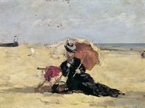 Woman with a Parasol on the Beach by Eugene Louis Boudin