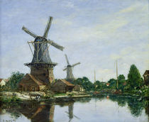 Dutch Windmills by Eugene Louis Boudin