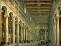 Interior of the Church of San Paolo Fuori le Mura by Giovanni Paolo Pannini or Panini