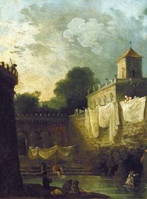 Washerwomen in the Moat of an Italian Villa  von Hubert Robert