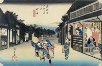 Goyu: Waitresses Soliciting Travellers von Ando or Utagawa Hiroshige