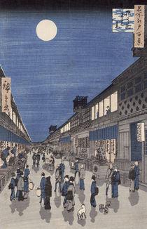 Night time view of Saruwaka Street by Ando or Utagawa Hiroshige