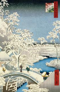 Drum bridge and Setting Sun Hill at Meguro von Ando or Utagawa Hiroshige