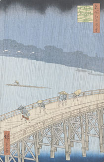 Sudden Shower on Ohashi Bridge at Ataka by Ando or Utagawa Hiroshige