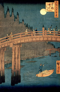 Kyoto bridge by moonlight by Ando or Utagawa Hiroshige
