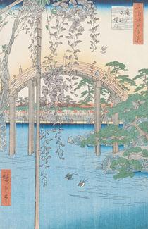 The Bridge with Wisteria or Kameido Tenjin Keidai by Ando or Utagawa Hiroshige
