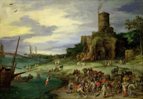 Fishermen on the Shore  by Jan Brueghel the Elder