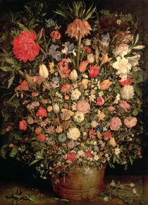 Large bouquet of flowers in a wooden tub von Jan Brueghel the Elder