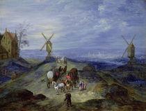 Landscape with Two Windmills by Jan Brueghel the Elder