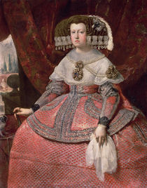 Queen Maria Anna of Spain in a red dress von Diego Rodriguez de Silva y Velazquez