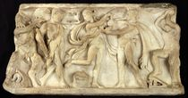Fragment of a sarcophagus depicting satyrs and a maenad  von Greek