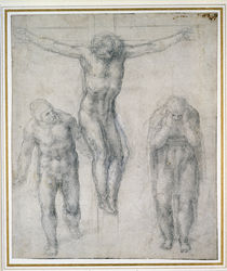 Study of a Crucified Christ and two figures von Michelangelo Buonarroti