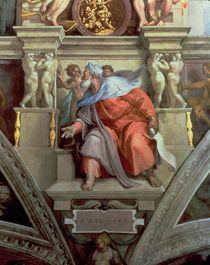 Sistine Chapel Ceiling: The Prophet Ezekiel by Michelangelo Buonarroti