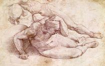 Study of Three Male Figures  by Michelangelo Buonarroti