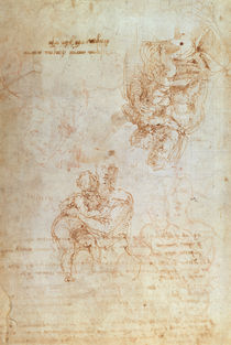 Studies of Madonna and Child  von Michelangelo Buonarroti
