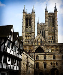 Lincoln Cathedral with Tudor Building von Darren Hendley